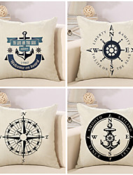 Set Of 4 Voyager Boat Anchor Compass Pillow Cover 45*45Cm Cushion Cover Classic Pillow Case
