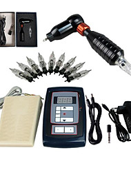 cheap -Tattoo Machine Starter Kit 1 rotary machine liner & shader High Quality LCD power supply 1 x aluminum grip 10 pcs Tattoo Needles Classic