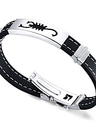 cheap -Men's ID Bracelet - Friendship Initial Jewelry Movie Jewelry Hip-Hop Fashion Rock Round Circle Black Bracelet For Christmas Gifts