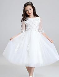 abordables -robe de bal longueur de thé robe de fille de fleur - organza avec volants par jambe