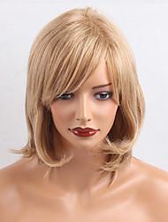 abordables -Pelo humano pelucas sin tapa Castaño medio / Bleach Blonde Alta calidad Clásico Ondulado Natural Diario