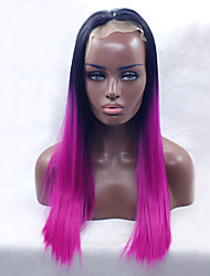 cheap -Fashion Long Silky Straight Ombre Magenta with Black Roots Heat Resistant Synthetic Lace Front Wigs for Women Purple Glueless Fiber Hair Free Shipping