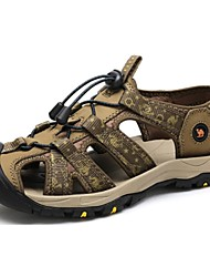 Camel Men's Outdoor Anticollision Close Toe Leisure Cow Leather Sandal Beach Shoes Color Green/Brown