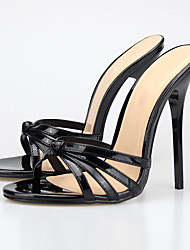 cheap -Unisex Shoes PU(Polyurethane) Summer Sandals Stiletto Heel Open Toe Black / Beige / Red / Club Shoes / Party & Evening