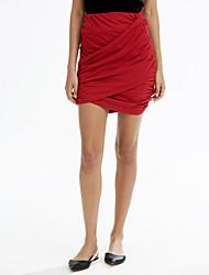 preiswerte -Damen Sexy Street Schick Ausgehen Party/Cocktail Mini Röcke A-Linie Bodycon,Polyester Solide Frühling Sommer
