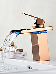 Centerset Waterfall LED indicator Rose Gold , Bathroom Sink Faucet