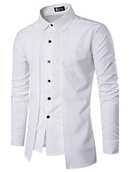 Men's Casual/Daily Simple Spring Fall Shirt,Solid Square Neck Long Sleeves Cotton Opaque