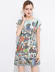 Women's Daily Going out Casual Sophisticated A Line Bodycon Sheath Dress,Print Architecture Printing Round Neck Above Knee Short Sleeves