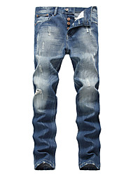 Men's Mid Rise High Elasticity Jeans Pants,Simple Street chic Relaxed Loose Denim Solid