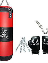 baratos -Saco de Boxe / Saco de areia Para Taekwondo / Boxe / Karatê / Artes marciais Ajustável, Durável, Vazio Treinamento de Resistência PU Leather 4 pcs Com 1 Cabide, Luvas de Box, Correia de corrente