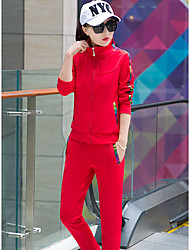Women's Daily Sports Outdoor clothing Simple Active Spring Fall Hoodie Pant Suits,Solid Stand Long Sleeve Micro-elastic