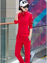 Sweat à capuche Pantalon Costumes Femme,Couleur Pleine Quotidien Sports Vêtements de Plein Air Printemps Automne Manches longues Mao