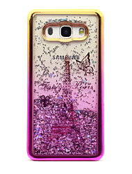 cheap -For Samsung Galaxy J5 (2016) J3 (2016) Case Cover Flowing Liquid Pattern Back Cover Case Glitter Shine Eiffel Tower Soft TPU for J3
