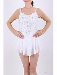 Robe de Patinage Artistique Femme Fille Robe de Patinage Blanc/Blanc Elasthanne Haute élasticité A Bijoux Strass Utilisation Fait à la