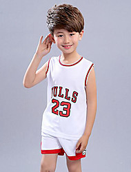 cheap -Boys' Print Patchwork Clothing Set,Polyester Summer Sleeveless White Red