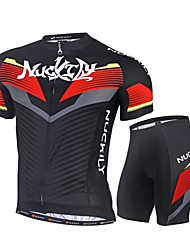 Nuckily Cycling Jersey with Shorts Bike Clothing Suits Quick Dry Ultraviolet Resistant 4D Pad Reflective Strips Back Pocket Ultra Light