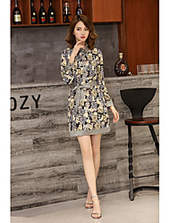cheap -KLIMEDA Women's Daily Going out Cute A Line Dress,Print Shirt Collar Above Knee Long Sleeves Silk Spring Summer Mid Rise Micro-elastic Medium