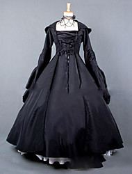 cheap -Victorian Rococo Costume Women's Party Costume Black Vintage Cosplay Other Satin Long Sleeves Cap Floor Length