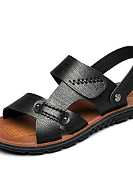 cheap -Men's Sandals Fall Winter Comfort Cowhide Outdoor Office & Career Dress Casual Upstream shoes Light Brown Black Big Size