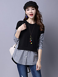 cheap -Women's Daily Casual Shirt,Striped Color Block Round Neck Long Sleeves Cotton