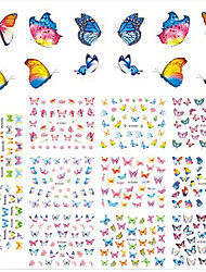 11Design/pcs Hot Fashion Nail Art DIY Beauty Romantic Butterfly 3D Sticker Sweet Design Beautiful Butterfly Colorful Decoration E578-588