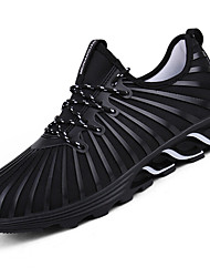 cheap -Men's Athletic Shoes Light Soles Tulle Spring Summer Fall Winter Athletic Casual Outdoor Track & Field Light Soles Lace-up Low HeelBlack