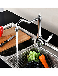 preiswerte -Moderne Hoch / High-Arc Mittellage drehbar Keramisches Ventil Einhand Ein Loch Chrom , Armatur für die Küche