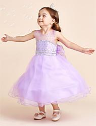 cheap -Ball Gown Tea Length Flower Girl Dress - Tulle Sleeveless Jewel Neck with Crystal