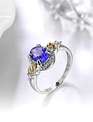 cheap -Women's Ring Engagement Ring Synthetic Sapphire Synthetic Emerald AAA Cubic Zirconia Fashion Elegant Silver Synthetic Gemstones Cubic