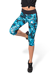 cheap -Women's Running Tights / Gym Leggings - Blue Sports Geometic, Printing Pants / Trousers / Compression Clothing / 3/4 Tights Yoga, Exercise & Fitness, Running Activewear Quick Dry, Breathable