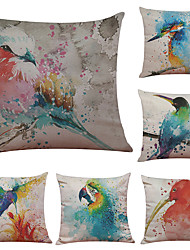 cheap -Set of 6 European-Style Hand-Painted Bird Pattern Linen Pillowcase Sofa Home Decor Cushion Cover  Throw Pillow Case (18*18inch)