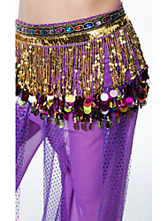 cheap -Belly Dance Hip Scarves Women's Performance Sequin Chiffon Belt Beading Sequin Tassel(s) Paillettes 1 Piece Hip Scarf