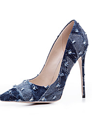 Women's Heels Basic Pump Summer Fall Real Leather Casual Black Dark Blue Light Blue 4in-4 3/4in