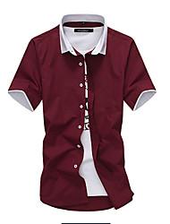 Kortærmet Krave Herrer Ruder Simpel Afslappet/Hverdag Skjorte,Bomuld