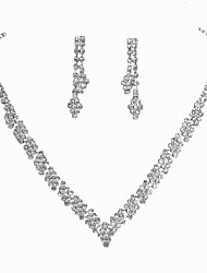 cheap -Women's Rhinestone Jewelry Set 1 Necklace / 1 Pair of Earrings - Classic / Fashion Square Cut Silver Bridal Jewelry Sets For Wedding /
