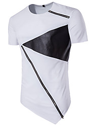 Men's Fashion Personality Zipper Design Stitching Short Sleeved T-Shirt Cotton Spandex Medium/Plus Size Casual/Daily Simple