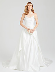A-Line Strapless Cathedral Train Satin Formal Evening Dress with Pattern / Print Pleats by TS Couture®