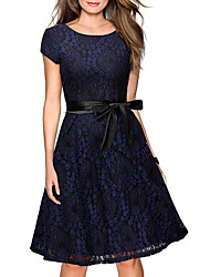 cheap -Women's Casual Street chic Loose Shift Lace Dress,Floral Embroidered Round Neck Knee-length Short Sleeves Silk Cotton Summer Fall Mid Rise