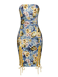 cheap -Women's Party Club Vintage Sexy Bodycon Dress,Floral Strapless Above Knee Sleeveless Polyester Spandex Summer Mid Rise Micro-elastic Thin