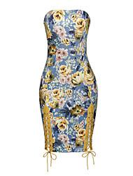 abordables -Femme Moulante Robe - Ouvert Imprimé Style floral, Fleur Sans Bretelles