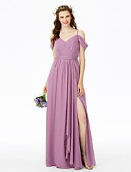 Sheath / Column Spaghetti Straps Floor Length Chiffon Bridesmaid Dress with Pleats by LAN TING BRIDE®
