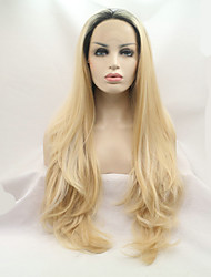 Sylvia Synthetic Lace front Wig Black Roots 613/60 Blonde Balayage Hair Heat Resistant Long Straight Synthetic Wigs