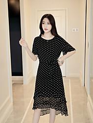 cheap -KLIMEDA Women's Cute A Line Dress,Polka Dot Round Neck Asymmetrical Silk Spring Summer Mid Rise Inelastic Medium