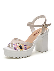 Women's Heels  PU Summer Party/ Evening  Chunky Heel Blushing Pink Pool Beige White 2in-2 3/4in