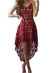 Gaine Robe Femme SortieCouleur Pleine Col en V Asymétrique Sans Manches Polyester Eté Taille Normale Micro-élastique Epais