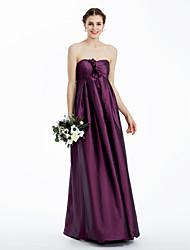 cheap -Sheath / Column Strapless / Sweetheart Neckline Floor Length Taffeta Bridesmaid Dress with Ruched / Flower by