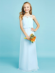 cheap -Sheath / Column Straps Floor Length Chiffon Junior Bridesmaid Dress with Crystal Detailing by LAN TING BRIDE®