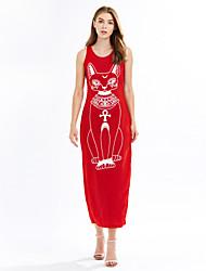 baratos -Mulheres Bainha Vestido,Casual Moda de Rua Estampado Decote Redondo Longo Sem Manga Vermelho / Preto / Cinza Algodão Verão