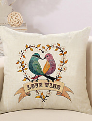 1 Pcs Love Wins Heart Birds Pillow Cover Creative Square Sofa Cushion Cover Home Decor Pillowcase