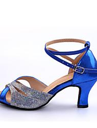 abordables -Mujer Zapatos de Baile Latino Tacones Alto Corte Tacón Personalizado Personalizables Zapatos de baile Rojo / Azul / Interior / Cuero